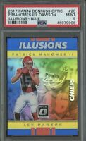 2017 Donruss Optic Illusions Patrick Mahomes Rookie Blue Prizm # /149 PSA 9 RC💎