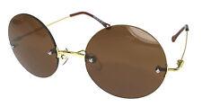 Celebrity Vintage Retro Round Sunglasses Shade Black Brown Green Slim Metal Arm