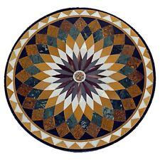 """36"""" Marble Coffee Table Top Lapis Inlay Pietradura Handmade  Home Decor"""