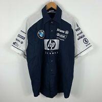 BMW F1 Team Mens Button Shirt Size XL Short Sleeve Embroidered Logos