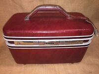 Vintage Samsonite Silhouette II Burgundy Train Cosmetic Travel Case Luggage,Tray