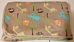 Just Born Brown Fleece Baby Blanket Jungle Animals Green Sherpa Back Monkey Lion