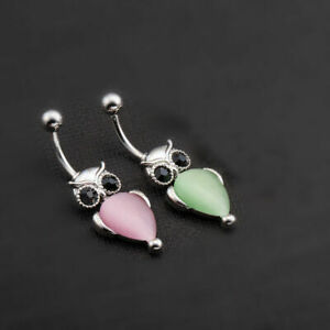 18K White Gold Plated Green/ Pink Owl Dangly Piercing Belly Bar Button Navel UK