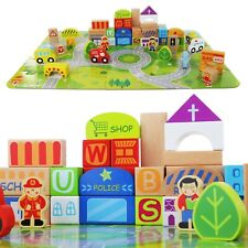 Wooden Building Blocks Toy Set Cute Design - Little Town Jigsaw Puzzle Mat Toy