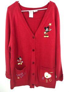 Disney Mickey Mouse Cardigan Sweater Women's XL 1X Red Teacher ABC School