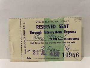 Victorian Railways VR NSWGR Reserved Seat Ticket Intersystem Express 1964