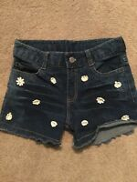 Flowers by Zoe Chasing Fireflies Denim Girls Cotton Jean Shorts Appliqué 10  12