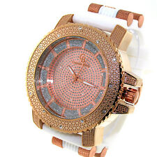 MENS ICED OUT ROSEGOLD/WHITE CAPTAIN BLING ICE NATION HIP HOP BULLET BAND WATCH