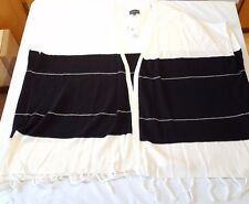 NWT THE LIMITED Cream Off White and Black Striped Poncho Sweater Fringe XS/S