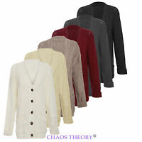 Womens Long Sleeve Chunky Aran Cable Knitted Top Ladies Button Grandad Cardigan