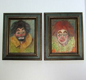 Fine Oil Paintings Two Sad Clowns Excellent Impressionism Work High End Signed