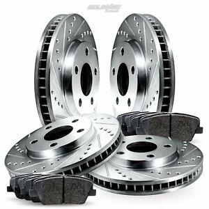 Fit Jeep Wrangler, TJ Front Rear  Drill Slot Brake Rotors+Ceramic Brake Pads