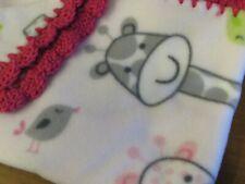 "Handmade Baby Girl Pink Fleece Jungle Animal Giraffe Blanket 30"" x 40"" Giraffes"