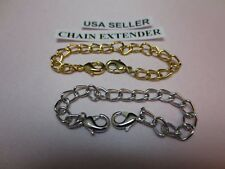 "7"" 14 kt GOLD EP &14kt WHITE GOLD  EP DOUBLE LOBSTER CLAW NECKLACE  EXTENDER"