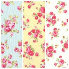 140x60cm Flowers on Red Shabby Chic 100/% Cotton Fabric