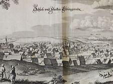 MERIAN - orig. Kupferstich 1654: Schloss und Flecken ELBINGERODE im Harz