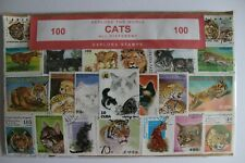 Cat Stamp Collection 100 Stamps All Different Sealed Pack Freepost Explora