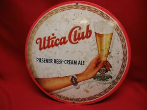 UTICA CLUB PILSNER BEER - CREAM ALE METAL ADVERTISING SIGN