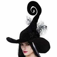 Ladies Deluxe Black Curly Witch Hat Twisty Spiral Feathers Halloween Nightmare
