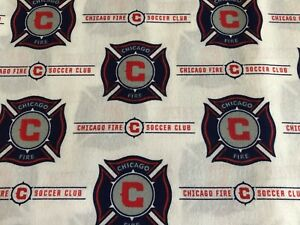 NEW MLS CHICAGO FIRE COTTON Fabric 1/4 yard=9in X 44 inches LOGO SOCCER DIY MASK