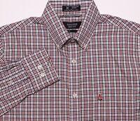 NORDSTROM Long Sleeve Button Shirt Sailboat Logo Red Blue Plaid Medium M