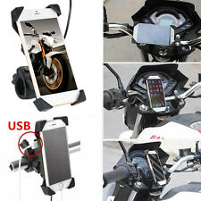 """Universal Motorcycle Cellphone ABS Mount Holder For 3.5-7""""Phone GPS +USB Charger"""