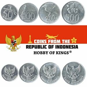 MONEY SET OF 4 COINS FROM INDONESIA. 50, 100, 200, 500 RUPIAH. 1999-2005