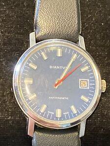Vintage Diantus swiss made men's blue dial 2292 wrist Watch WORKING