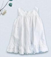 Girls White Dress 3T Scalloped Eyelet Lace Trim  Summer Dress Sleeveless Carolyn