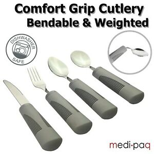 Heavy Cutlery Weighted Large Handled Bendable Easy Grip Disability Eating Aids