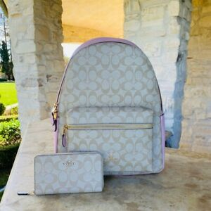 Coach Charlie Large Leather Backpack Signature Chalk Pink School Bag Wallet Opti