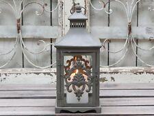 Chic Antique Laterne grau Metall  Glas  Ornamente, Orient orientalisch,, Shabby