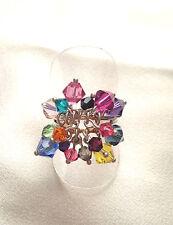 Inusual hecho a mano multi-color cristales de Swarovski Anillo S: 7-7 1/2 - N-O