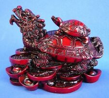RED Feng Shui Dragon Turtle Tortoise Statue Figurine Coin Money Wealth