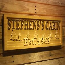 wpa0099 Name Personalized Cabin Tree Established Year Wood Engraved Wooden Sign