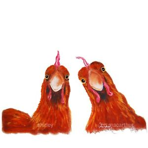 HENS CHiCKeNS PRINTS ART of Original Painting 'HARRIET & HUMBUG' by SHIRLEY M