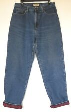 L.L. Bean Relaxed Fit Denim Medium Blue Jeans Lined with Red Plaid Flannel 14 MT