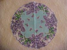 Vintage Round Hanky w/ Lavender Lilac Flowers