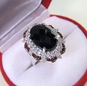 BLACK SPINEL, RHODOLITE, WHITE SAPPHIRE RING 9.55 CTW #7.25 GOLD over 925 SILVER