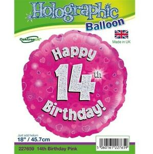 """FANTASTIC COLOURFUL SILVER & PINK HAPPY 14TH BIRTHDAY 18"""" HELIUM FOIL BALLOON"""