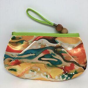 MARY KAY Makeup Bag ART OF NATURE Watercolor Orange Green Blue Wood Beads NEW