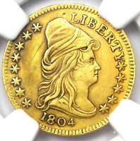 1804 Capped Bust Gold Quarter Eagle $2.50 Coin - NGC AU Details - Rare Date!