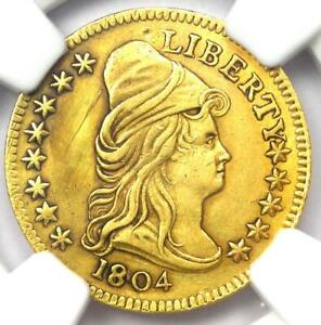 1804 Capped Bust Gold Quarter Eagle $2.50 Coin - NGC AU Details - Rare Date!