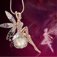 Women Crystal Fairy Angel Wing Pendant Long Chain Sweater Necklace Xmas Gift HS