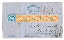 NEDERLAND # 3 IN STRIP VAN 5 + #1 OP BRIEF NAAR ANDOVER, USA 1 JULI 1863