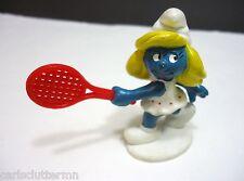 Vintage Smurf Figure Smurfette Pro Tennis Player Schleich 1980's W Berrie  Peyo