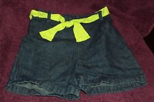 Toddlers Girls Blue Denim Shorts Size 4T Lime Green Cloth Tie Belt