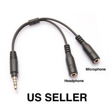 3.5mm Stereo Audio Male to 2 Female Headset Mic TRRS Y Splitter Cable Adapter US