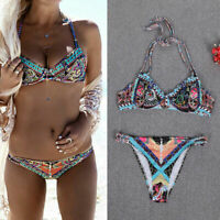 2Pcs Women African Swimwear Bandage Bikini Set Push up Padded Bra Bathing Suit