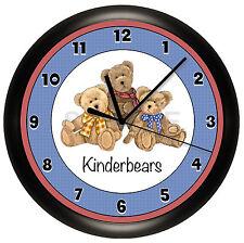 BEARS WALL CLOCK TEDDY KIDS ROOM NURSERY DECOR ART BEAR BLUE RED PERSONALIZED